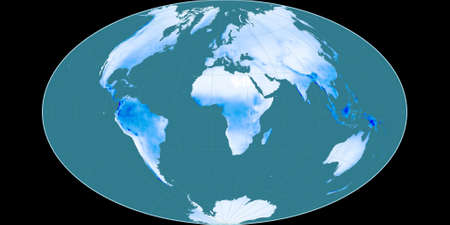World map in the Gott Equal-Area projection centered on 11 East longitude. Mean annual precipitation map - raw composite of raster with graticule. 3D illustration