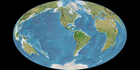 World map in the Gott Equal-Area projection centered on 90 West longitude. Satellite imagery B - raw composite of raster with graticule. 3D illustration 版權商用圖片