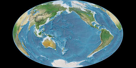 World map in the Gott Equal-Area projection centered on 170 West longitude. Satellite imagery A - raw composite of raster with graticule. 3D illustration