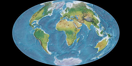 World map in the Gott Equal-Area projection centered on 11 East longitude. Main physiographic landscape features - raw composite of raster with graticule. 3D illustration