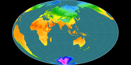 World map in the Gott Equal-Area projection centered on 90 East longitude. Mean annual temperature map - raw composite of raster with graticule. 3D illustration