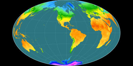 World map in the Gott Equal-Area projection centered on 90 West longitude. Mean annual temperature map - raw composite of raster with graticule. 3D illustration