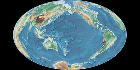 World map in the Gott Equal-Area projection centered on 170 West longitude. Colored shader, elevation map - raw composite of raster with graticule. 3D illustration 版權商用圖片