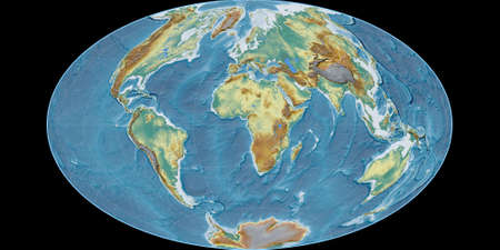 World map in the Gott Equal-Area projection centered on 11 East longitude. Topographic relief map - raw composite of raster with graticule. 3D illustration 版權商用圖片