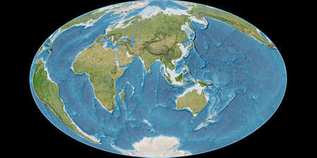 World map in the Gott Equal-Area projection centered on 90 East longitude. Satellite imagery B - raw composite of raster with graticule. 3D illustration 版權商用圖片