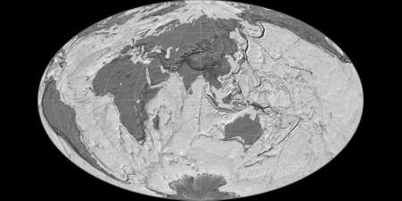 World map in the Gott Equal-Area projection centered on 90 East longitude. Bilevel topographic map - raw composite of raster with graticule. 3D illustration