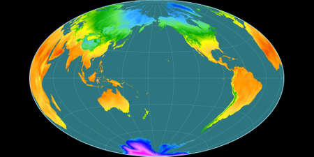 World map in the Gott Equal-Area projection centered on 170 West longitude. Mean annual temperature map - raw composite of raster with graticule. 3D illustration 版權商用圖片