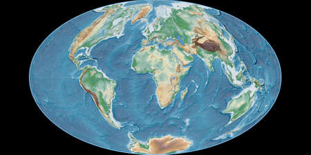 World map in the Gott Equal-Area projection centered on 11 East longitude. Colored shader, elevation map - raw composite of raster with graticule. 3D illustration