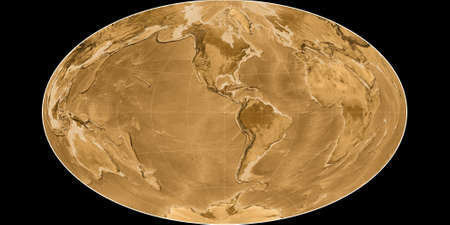 World map in the Gott Equal-Area projection centered on 90 West longitude. Sepia tinted elevation map - raw composite of raster with graticule. 3D illustration