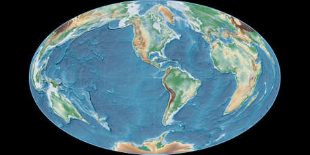 World map in the Gott Equal-Area projection centered on 90 West longitude. Colored shader, elevation map - raw composite of raster with graticule. 3D illustration