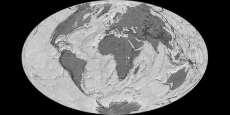 World map in the Gott Equal-Area projection centered on 11 East longitude. Bilevel topographic map - raw composite of raster with graticule. 3D illustration