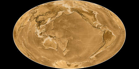 World map in the Gott Equal-Area projection centered on 170 West longitude. Sepia tinted elevation map - raw composite of raster with graticule. 3D illustration 版權商用圖片