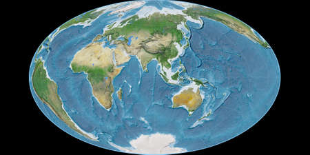 World map in the Gott Equal-Area projection centered on 90 East longitude. Satellite imagery A - raw composite of raster with graticule. 3D illustration
