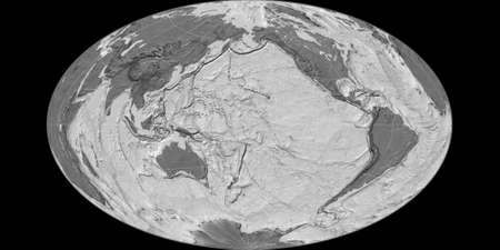 World map in the Gott Equal-Area projection centered on 170 West longitude. Bilevel topographic map - raw composite of raster with graticule. 3D illustration 版權商用圖片