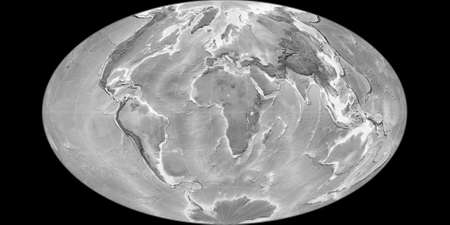 World map in the Gott Equal-Area projection centered on 11 East longitude. Grayscale elevation map - raw composite of raster with graticule. 3D illustration 版權商用圖片