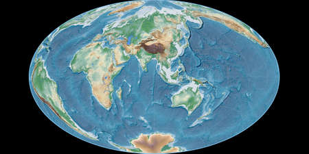 World map in the Gott Equal-Area projection centered on 90 East longitude. Colored shader, elevation map - raw composite of raster with graticule. 3D illustration