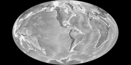 World map in the Gott Equal-Area projection centered on 90 West longitude. Grayscale elevation map - raw composite of raster with graticule. 3D illustration 版權商用圖片