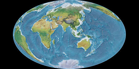 World map in the Gott Equal-Area projection centered on 90 East longitude. Main physiographic landscape features - raw composite of raster with graticule. 3D illustration