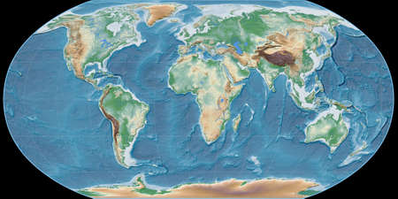 World map in the Robinson projection centered on 11 East longitude. Colored shader, elevation map - raw composite of raster with graticule. 3D illustration