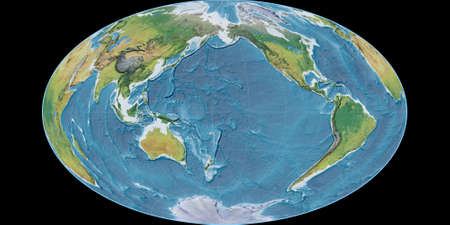 World map in the Gott Equal-Area projection centered on 170 West longitude. Main physiographic landscape features - raw composite of raster with graticule. 3D illustration 版權商用圖片