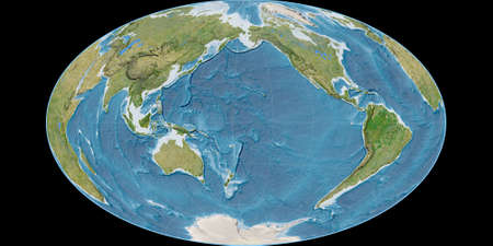World map in the Gott Equal-Area projection centered on 170 West longitude. Satellite imagery B - raw composite of raster with graticule. 3D illustration 版權商用圖片