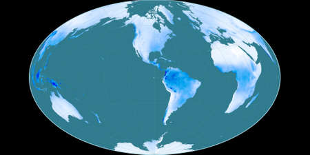 World map in the Gott Equal-Area projection centered on 90 West longitude. Mean annual precipitation map - raw composite of raster with graticule. 3D illustration