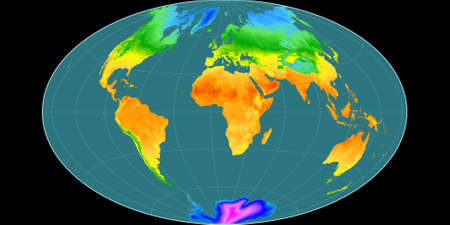 World map in the Gott Equal-Area projection centered on 11 East longitude. Mean annual temperature map - raw composite of raster with graticule. 3D illustration
