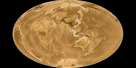 World map in the Gott Equal-Area projection centered on 90 East longitude. Sepia tinted elevation map - raw composite of raster with graticule. 3D illustration 版權商用圖片