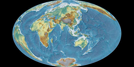 World map in the Gott Equal-Area projection centered on 90 East longitude. Topographic relief map - raw composite of raster with graticule. 3D illustration 版權商用圖片