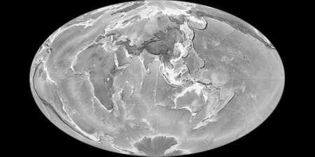 World map in the Gott Equal-Area projection centered on 90 East longitude. Grayscale elevation map - raw composite of raster with graticule. 3D illustration 版權商用圖片