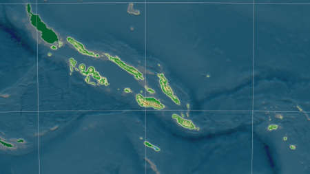Solomon Islands area map in the Azimuthal Equidistant projection. color physical map. Overlay with clean background, borders and graticule