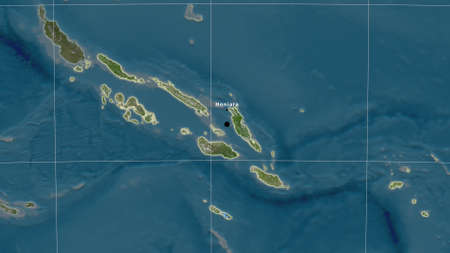 Solomon Islands area map in the Azimuthal Equidistant projection. satellite imagery. Full composition of rasters with borders, main cities, capital name and graticule