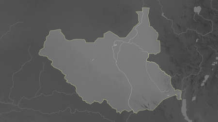 South Sudan area map in the Azimuthal Equidistant projection. grayscale elevation map. Full composition of rasters without borders