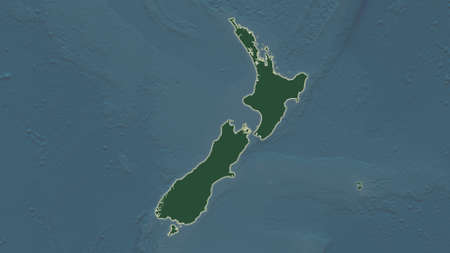 New Zealand area map in the Azimuthal Equidistant projection. topographic relief map. Clean shape without borders