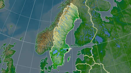 Sweden area map in the Azimuthal Equidistant projection. color physical map. Full composition of rasters with borders, main cities, capital name and graticule Zdjęcie Seryjne