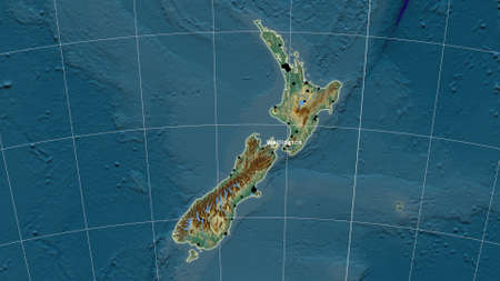 New Zealand area map in the Azimuthal Equidistant projection. topographic relief map. Full composition of rasters with borders, main cities, capital name and graticule
