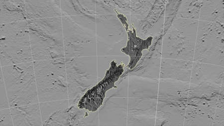 New Zealand area map in the Azimuthal Equidistant projection. bilevel elevation map. Overlay with clean background, borders and graticule