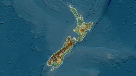 New Zealand area map in the Azimuthal Equidistant projection. topographic relief map. Full composition of rasters without borders