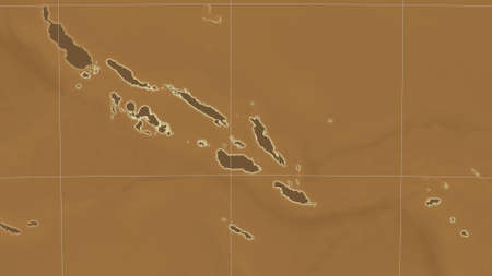 Solomon Islands area map in the Azimuthal Equidistant projection. tinted elevation shader. Clean shape with borders and graticule Stock Photo