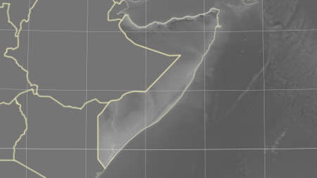 Somalia area map in the Azimuthal Equidistant projection. grayscale elevation map. Overlay with clean background, borders and graticule