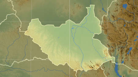 South Sudan area map in the Azimuthal Equidistant projection. color physical map. Full composition of rasters with borders, main cities, capital name and graticule