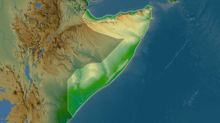 Somalia area map in the Azimuthal Equidistant projection. color physical map. Full composition of rasters without borders