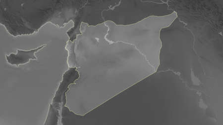 Syria area map in the Azimuthal Equidistant projection. grayscale elevation map. Full composition of rasters without borders