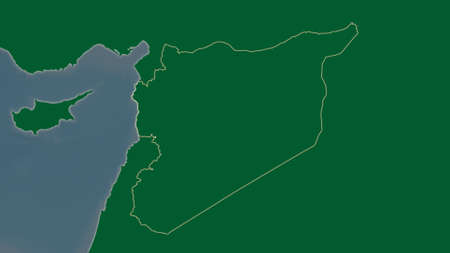 Syria area map in the Azimuthal Equidistant projection. color physical map. Clean shape without borders