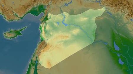 Syria area map in the Azimuthal Equidistant projection. color physical map. Full composition of rasters without borders