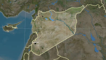 Syria area map in the Azimuthal Equidistant projection. satellite imagery. Full composition of rasters with borders, main cities, capital name and graticule