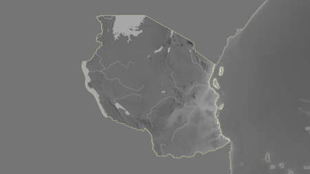 Tanzania area map in the Azimuthal Equidistant projection. grayscale elevation map. Overlay with clean background without borders Standard-Bild