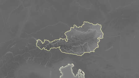 Austria area map in the Azimuthal Equidistant projection. grayscale elevation map. Overlay with clean background without borders