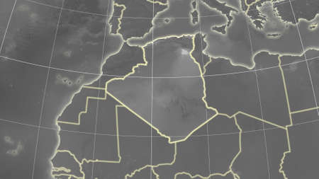 Algeria area map in the Azimuthal Equidistant projection. grayscale elevation map. Overlay with clean background, borders and graticule Standard-Bild