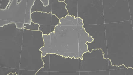 Belarus area map in the Azimuthal Equidistant projection. grayscale elevation map. Overlay with clean background, borders and graticule